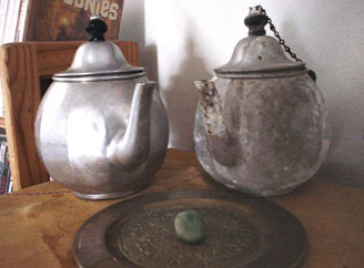 teapots with cool green 'magic rock' found on Point Reyes